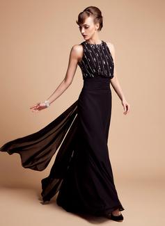 Trompete/Meerjungfrau-Linie U-Ausschnitt Bodenlang Chiffon Kleid für die Brautmutter mit Perlen verziert