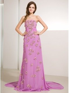 A-Line/Princess Strapless Watteau Train Chiffon Prom Dress With Ruffle Beading Sequins