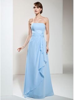 A-Line/Princess Strapless Floor-Length Chiffon Bridesmaid Dress With Beading Appliques Lace Cascading Ruffles