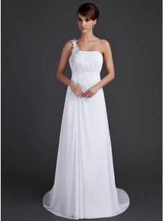 A-Line/Princess One-Shoulder Sweep Train Chiffon Holiday Dress With Ruffle Appliques