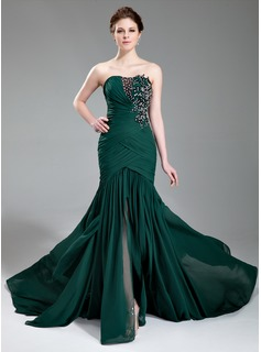 Mermaid Sweetheart Court Train Chiffon Evening Dress With Ruffle Lace Beading Sequins