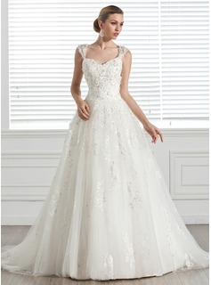 Ball-Gown Sweetheart Court Train Tulle Wedding Dress With Beading Appliques Flower(s)