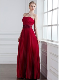 A-Line/Princess Sweetheart Floor-Length Chiffon Charmeuse Bridesmaid Dress With Pleated
