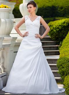 A-linjeformat V-ringning Court släp Taft Bröllopsklänning med Rufsar Applikationer Spetsar