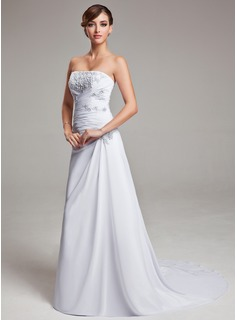 A-Line/Princess Strapless Sweep Train Chiffon Wedding Dress With Ruffle Lace