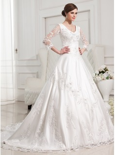 Ball-Gown V-neck Chapel Train Satin Tulle Wedding Dress With Lace Beadwork (002012846)