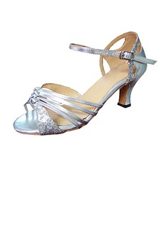 Women's Sparkling Glitter Patent Leather Heels Sandals Latin Ballroom Wedding Party Dance Shoes