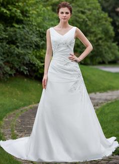 Vestidos princesa/ Formato A Decote V Cauda longa Tafetá Vestido de noiva com Pregueado Bordado Apliques de Renda