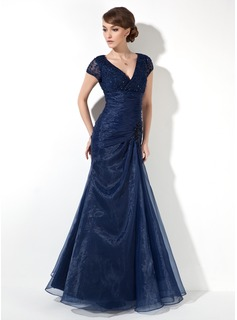 Mermaid V-neck Floor-Length Organza Lace Mother of the Bride Dress With Ruffle Beading