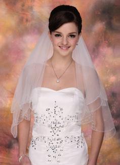 Dwuwarstwowe Elbow ślubny Welony Z Zdobione Koralikami