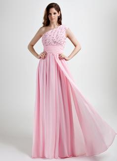 A-Linie/Princess-Linie One-Shoulder-Träger Bodenlang Chiffon Festliche Kleid mit Rüschen Perlen verziert