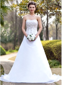 Corte A/Princesa Estrapless Cola capilla Satén Organdí Vestido de novia con Bordado Bordado Lentejuelas