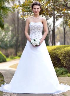 Corte A/Princesa Estrapless La capilla de tren Organdí Satén Vestido de novia con Bordado Bordado Lentejuelas