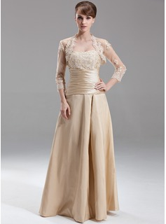A-Line/Princess Sweetheart Floor-Length Taffeta Bridesmaid Dress With Ruffle Beading Appliques Lace