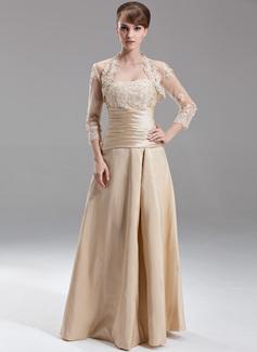A-formet/Prinsesse Sweetheart Gulvlengde Taft Brudepikekjole med Frynse Perlebesydd Applikasjoner Blonder