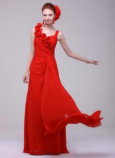 A-Line/Princess Sweetheart Floor-Length Chiffon Holiday Dress With Ruffle