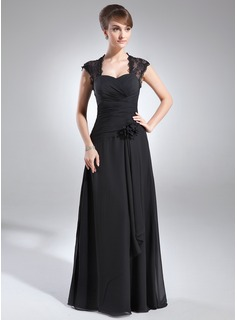 A-Line/Princess Sweetheart Floor-Length Chiffon Lace Mother of the Bride Dress With Ruffle Beading Flower(s)
