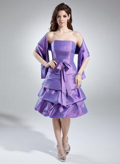 Çan/Prenses Askısız Diz Hizası Taffeta Nedime Elbisesi
