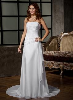 Corte A/Princesa Estrapless Tren de la corte Chifón Vestido de novia con Bordado Lentejuelas Cascada de volantes