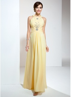 A-Line/Princess Halter Floor-Length Chiffon Prom Dress With Ruffle Beading