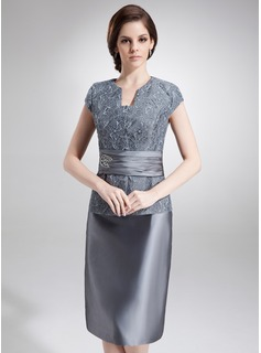 Sheath V-neck Knee-Length Taffeta Lace Mother of the Bride Dress With Beading