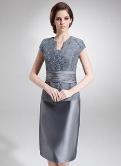 Tubo Decote V Coquetel Tafetá Renda Vestido para a mãe da noiva com Bordado