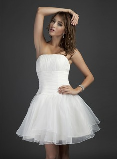 A-Line/Princess Strapless Short/Mini Organza Bridesmaid Dress With Ruffle