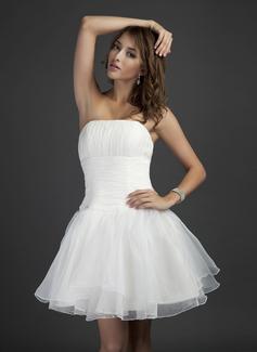 Vestidos princesa/ Formato A Sem Alças Curto/Mini Organza de Vestido de madrinha com Pregueado