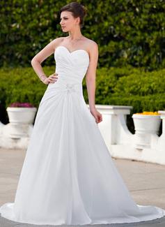 Princesový Srdcový výstřih Dvorní vlečka Taffeta Svatební šaty S Volán Lace Zdobení korálky