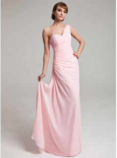 A-Line/Princess One-Shoulder Floor-Length Chiffon Prom Dress With Ruffle Beading