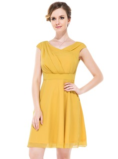 A-Line/Princess Cowl Neck Knee-Length Chiffon Bridesmaid Dress With Ruffle