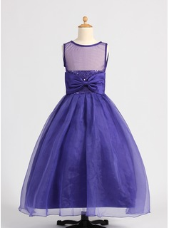 Ball Gown Floor-length Flower Girl Dress - Organza/Satin Sleeveless Scoop Neck With Beading/Sequins/Bow(s)
