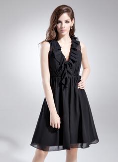 A-Line/Princess V-neck Knee-Length Chiffon Bridesmaid Dress With Cascading Ruffles