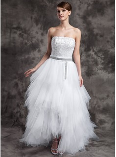 A-Line/Princess Strapless Asymmetrical Satin Tulle Prom Dress With Beading Sequins Cascading Ruffles
