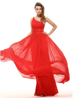 A-Line/Princess One-Shoulder Floor-Length Chiffon Charmeuse Holiday Dress With Ruffle