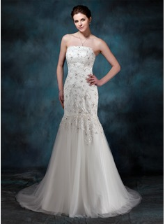 Trumpet/Mermaid Strapless Court Train Satin Tulle Wedding Dress With Lace Beading