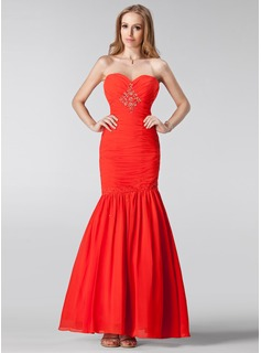 Trumpet/Mermaid Sweetheart Floor-Length Chiffon Bridesmaid Dress With Beading