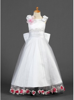 A-Line/Princess Off-the-Shoulder Floor-Length Satin Tulle Flower Girl Dress With Lace Beading Flower(s)