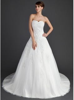 Ball-Gown Sweetheart Chapel Train Satin Tulle Wedding Dress With Lace