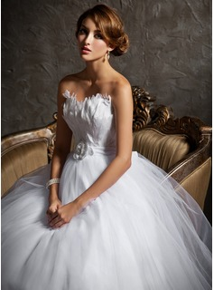 Ball-Gown Sweetheart Court Train Satin Tulle Wedding Dress With Beading Feather Flower(s)