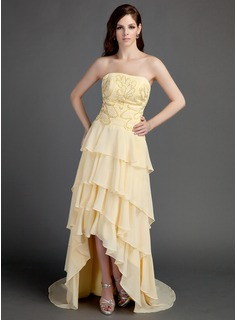 A-Line/Princess Strapless Asymmetrical Chiffon Prom Dress With Beading Appliques