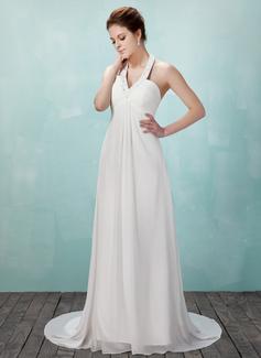 Empírový S ramínky za krkem Dvorní vlečka Chiffon Svatební šaty S Volán Zdobení korálky