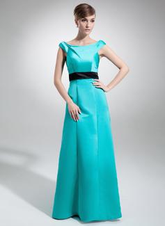 Çan/Prenses Off-Omuz Uzun Etekli Satin Nedime Elbisesi Ile Kuşaklar