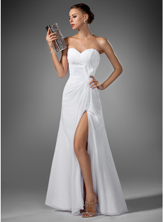 A-Line/Princess Sweetheart Floor-Length Chiffon Evening Dress With Ruffle