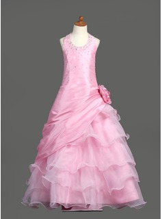 A-Line/Princess Scoop Neck Floor-Length Taffeta Organza Flower Girl Dress With Beading Flower(s) Sequins Cascading Ruffles