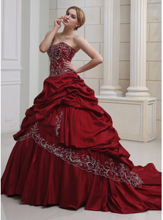 Ball-Gown Sweetheart Royal Train Taffeta Wedding Dress With Embroidery Ruffle Beading