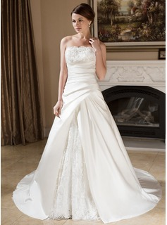 A-Line/Princess Strapless Court Train Satin Lace Wedding Dress With Ruffle Beadwork
