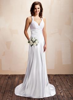 Corte A/Princesa Cabestro Tren de la corte Charmeuse Encaje Vestido de novia con Volantes
