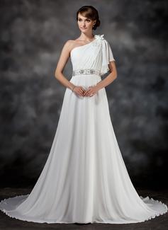 Corte A/Princesa Un sólo hombro La capilla de tren Chifón Vestido de novia con Volantes Bordado Flores
