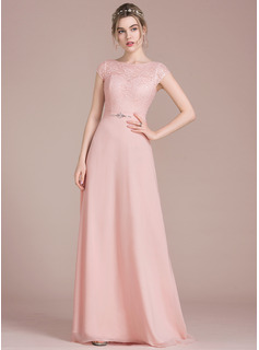 A-Line/Princess Scoop Neck Floor-Length Chiffon Lace Prom Dress With Beading Bow(s)